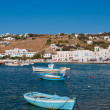 Island of Mykonos in the port bay with boats — Stock Photo