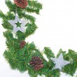 Royalty-Free Stock Photo: Spruce branches with Christmas balls on white