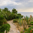 Stone path in the garden against the sea and sky - Lizenzfreies Foto