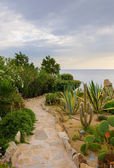 Stone path in the garden against the sea and sky — Stock Photo