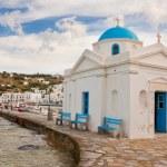 Church on the island of Mykonos near the pier. Greece. — Stock Photo #4357253