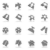 Design elements set. 16 abstract graphic icons. — Stock Vector