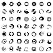 Spiral movement and rotation. 49 design elements. — Wektor stockowy