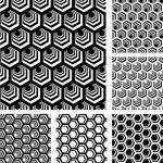 Seamless geometric patterns set. — Stock Vector