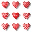 Heart icons set for valentine cards. — Stock Vector