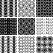 Seamless patterns set with heart-shaped elements. — Stock Vector