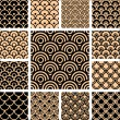 Seamless geometric patterns set. — Stok Vektör