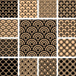 Seamless geometric patterns set. — Stockvectorbeeld