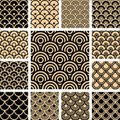 Seamless geometric patterns set. — 图库矢量图片