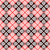 Seamless floral checked pattern. — Vector de stock
