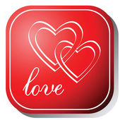 Love icon on a red button. — Stock Vector
