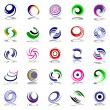 Spiral movement and rotation. Design elements set. - Stock Vector