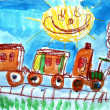 Child's watercolor picture of train and sun. - Stock Photo