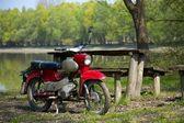 Bike on the riverside — Stock Photo