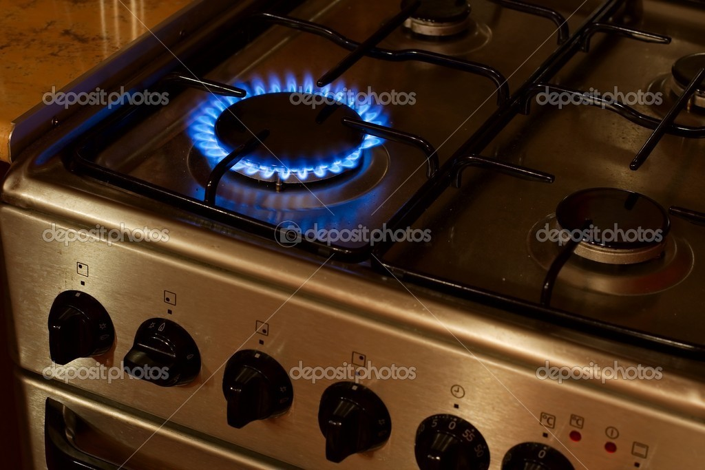 Burning flame of a gas stove — Stock Photo #5139439