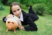 Girl with Piggy — Stock Photo