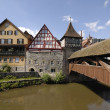 Stock Photo: Old bridge of wood in Schwabisch Hall, Germany