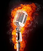 Microphone in Fire — Stock Photo