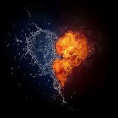 Serce w ogniu i wodzie — Zdjęcie stockowe