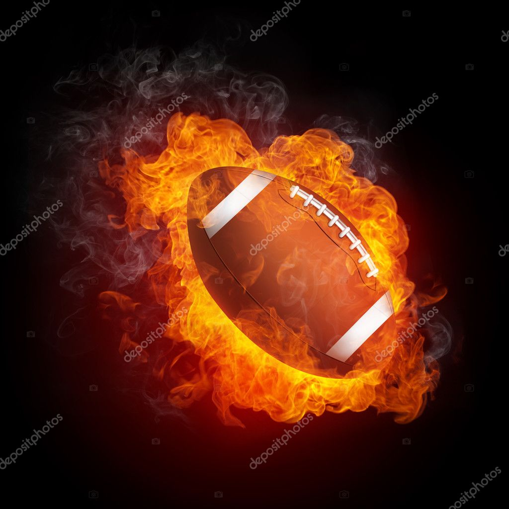 Football Ball in Fire Isolated on Black Background — Stock Photo #4274355