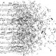 Music notes dancing away - Stockvectorbeeld
