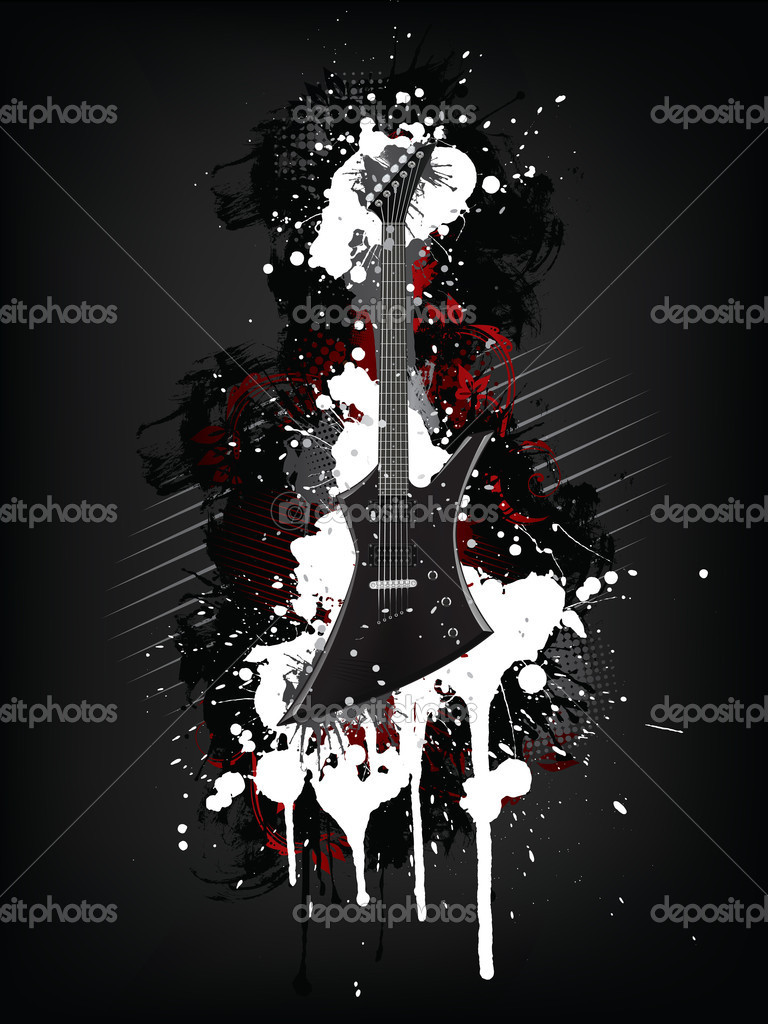 Electric Guitar With Abstract Swirl isolated on Black Background.Vector.  Stock Vector #4678094