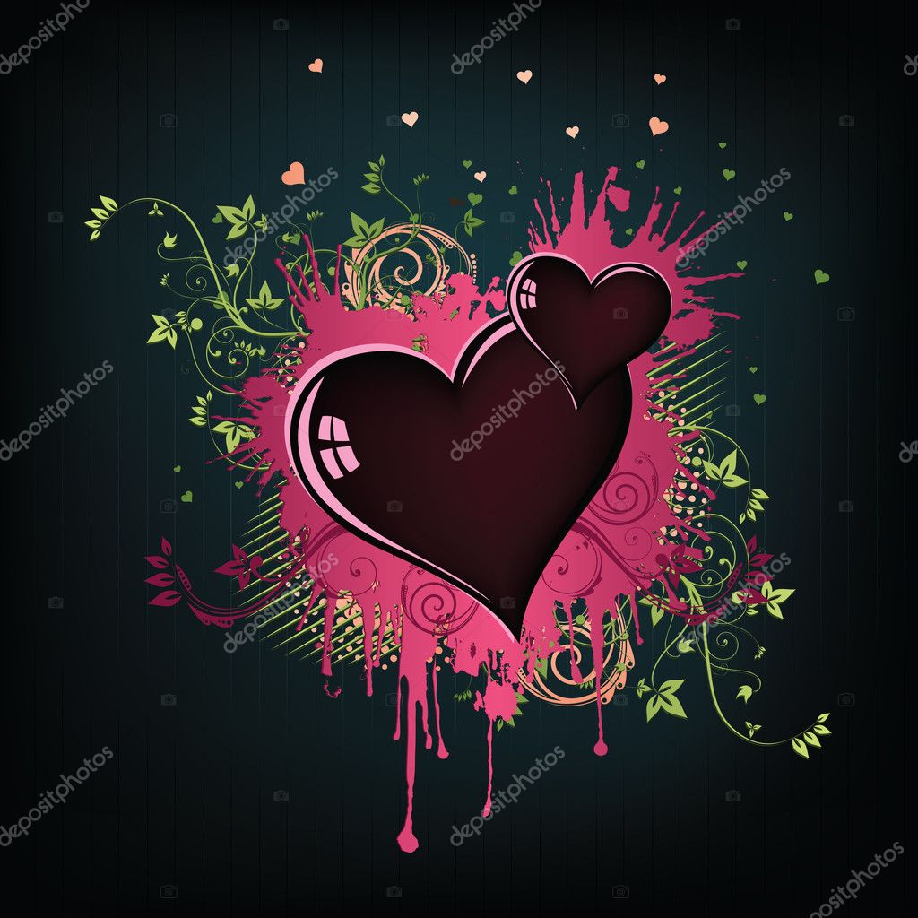 Valentine's Day Heart with Floral Abstract Isolated on White Background.Vector. — Stock Vector #4734974