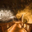 Ladder in salt mine - Stock Photo