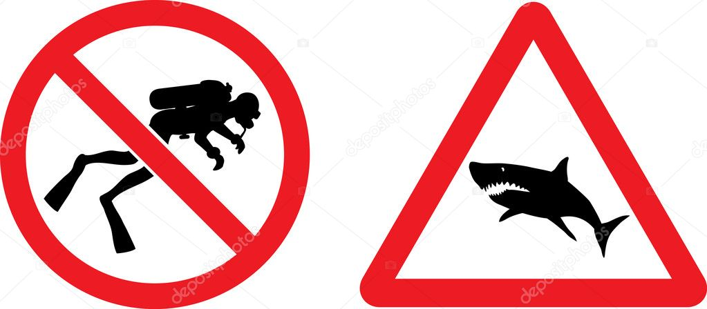 Forbidding and Prevention Vector Signs No Diving,  Shark — Stock Vector #4438420