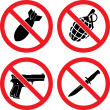 Forbidding Signs No weapons — Stock Vector