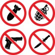"Forbidding Signs ""No weapons"" - Stockvectorbeeld"