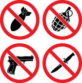 """Forbidding Signs """"No weapons"""" — Vettoriale Stock"""