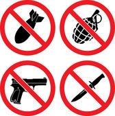 """Cartelli che vietano di """"senza armi"""" — Vettoriale Stock"""