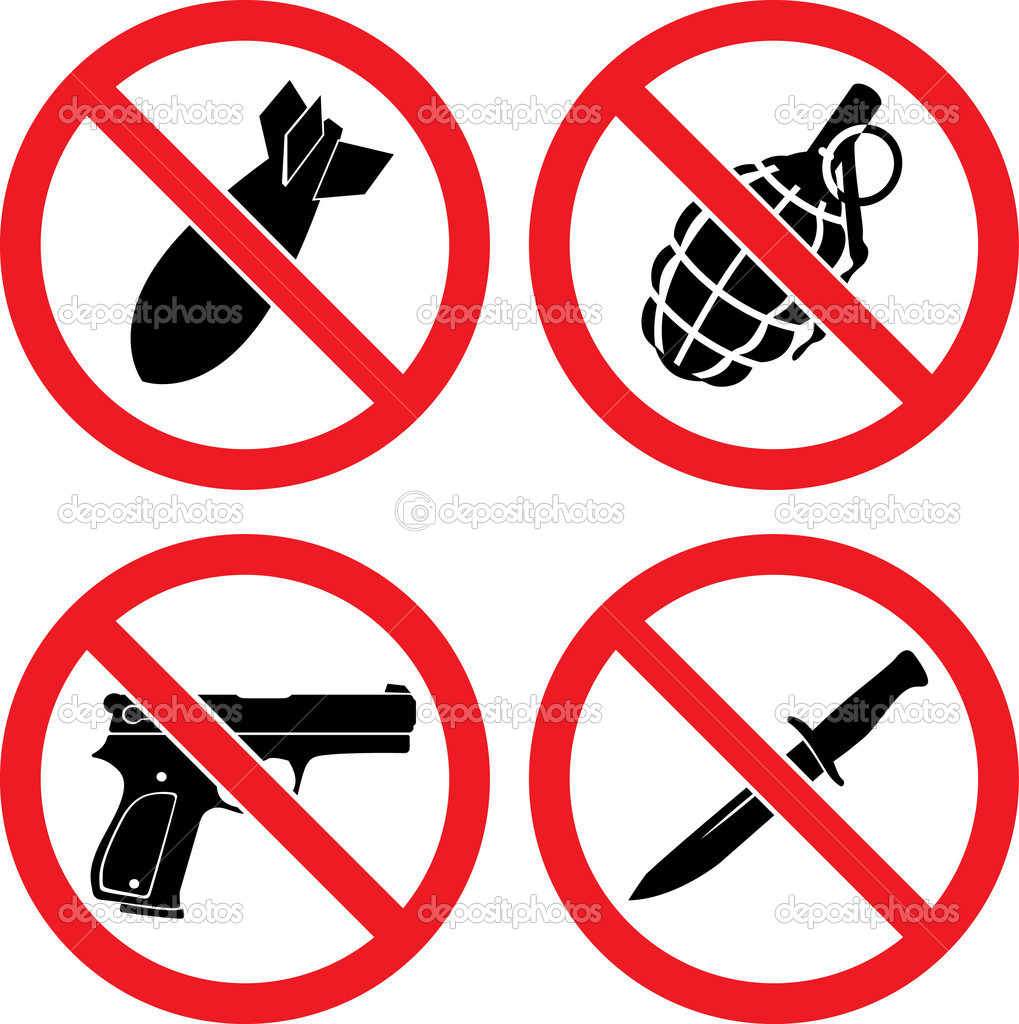 Forbidding  Vector Signs No weapons with bomb, grenade, pistol and knife  Stock Vector #5362841