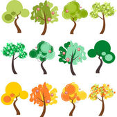 Group of trees in different color palettes — Stock Vector