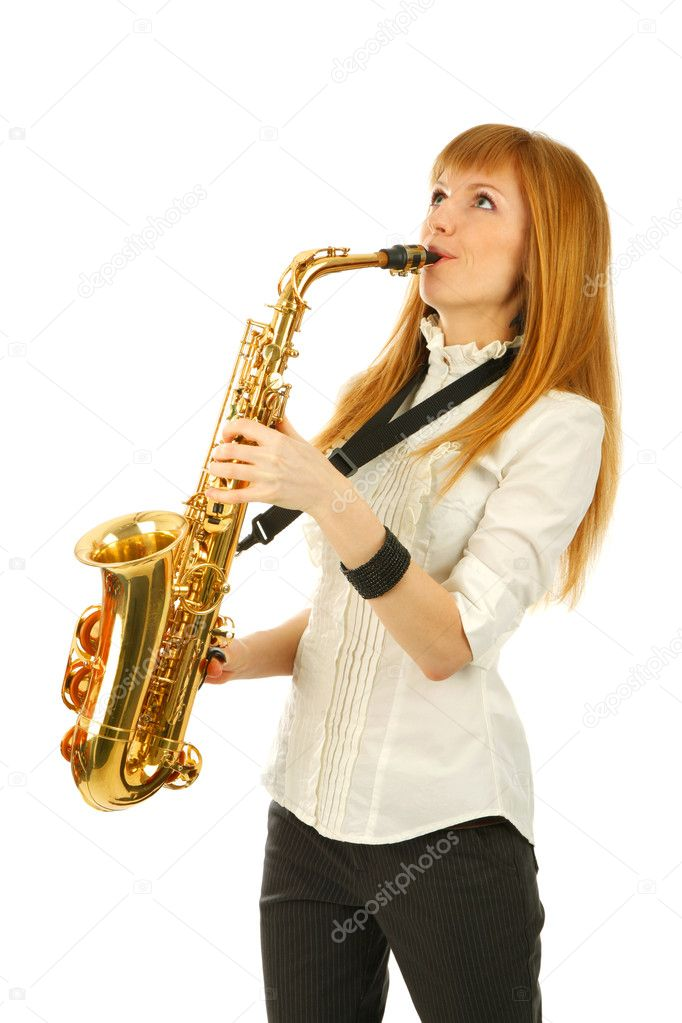 Girl with a sax  isolated  background — Stock Photo #4120550