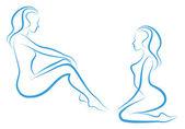 Mujer sketch, vector — Vector de stock