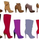 Winter shoes, vector — Stock Vector