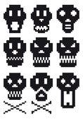Pixel skulls, vector — Stock Vector