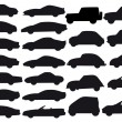 Car silhouettes, vector - Vettoriali Stock