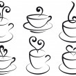 Coffee and tea cups, vector - Stockvectorbeeld