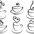 Stock Vector: Coffee and tecups, vector