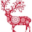 Christmas deer, vector — Vector de stock #4016788