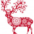 Christmas deer, vector — Vector de stock
