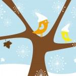 zimní ptáci, vektor — Stock vektor