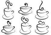 Kaffee und tee-tassen, vektor — Stockvektor