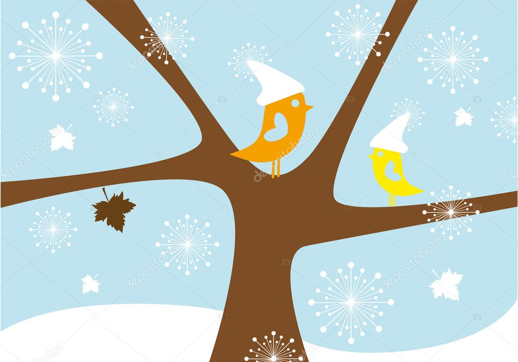 Birds in snowfall, lovebirds sitting on winter tree, vector background — Vettoriali Stock  #4016984
