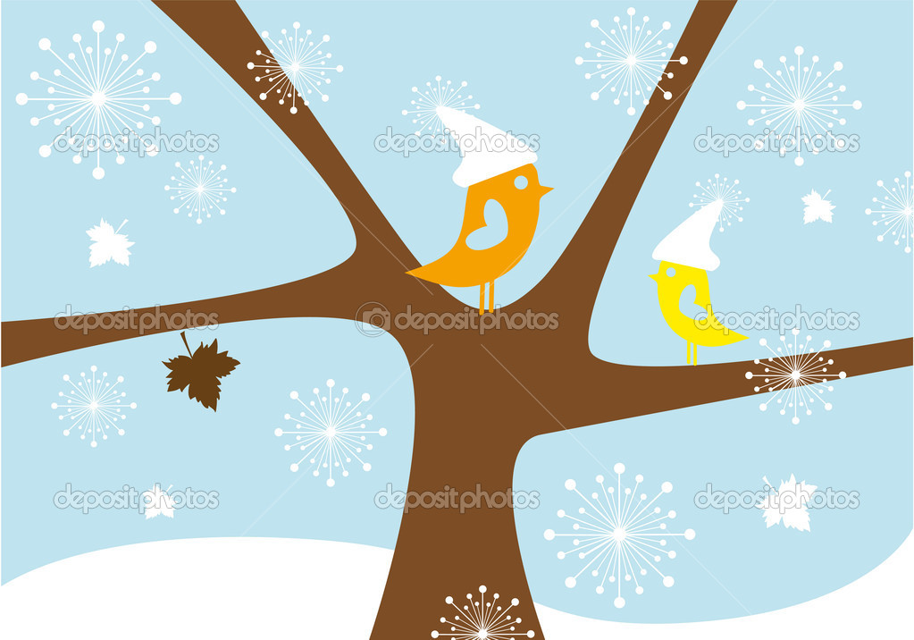Birds in snowfall, lovebirds sitting on winter tree, vector background — Imagens vectoriais em stock #4016984