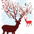 Christmas deer with snowy tree, vector - Vettoriali Stock