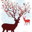 Christmas deer with snowy tree, vector - Imagen vectorial
